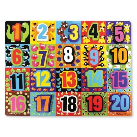 Melissa & Doug - 13832 - Układanka - Puzzle Drewniane - Zestaw z Numerami