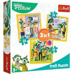 TREFL Puzzle Układanka 3w1 RODZINA TREFLIKÓW Razem Jest Wesoło 34850
