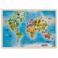 Goki Puzzle Drewniane 192 Elementy MAPA ŚWIATA 57460
