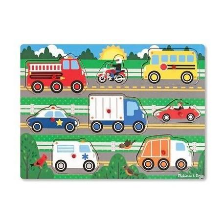 Melissa & Doug - 19051 - Układanka - Puzzle z Uchwytami - Pojazdy