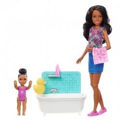 MATTEL Lalka Barbie Opiekunka Skipper ZESTAW Z WANNĄ FXH06
