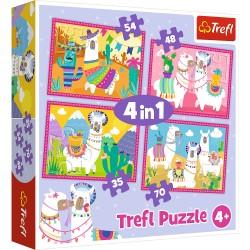 TREFL Puzzle Układanka 4w1 LAMY NA WAKACJACH 34322