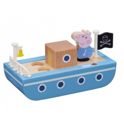 Świnka Peppa Drewniana Łódka i George 07209