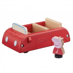 Świnka Peppa Drewniany Czerwony Samochód i Figurka Peppy 07208