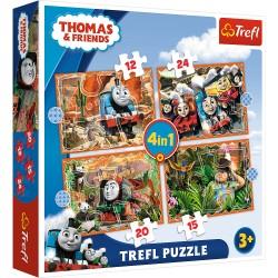 TREFL Puzzle Układanka 4w1 TOMEK I PRZYJACIELE PODRÓŻE PO ŚWIECIE 34354