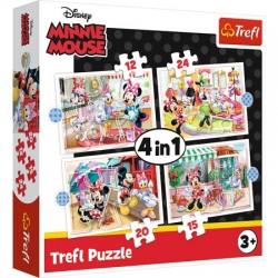 TREFL Puzzle Układanka 4w1 MINNIE MOUSE MYSZKA MINNIE Minnie z Przyjaciółmi 34355