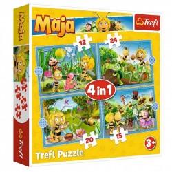 TREFL Puzzle Układanka 4w1 PRZYGODY PSZCZÓŁKI MAI 34356