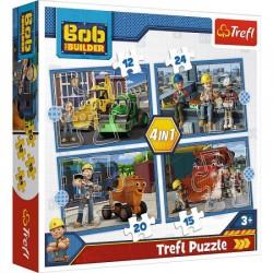 TREFL Puzzle Układanka 4w1 BOB BUDOWNICZY Pracowity Dzień 34350