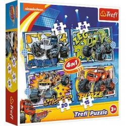 TREFL Puzzle Układanka 4w1 BLAZE I JEGO PRZYJACIELE 34349