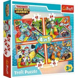 TREFL Puzzle Układanka 4w1 AKADEMIA TRANSFORMERSÓW Czas na Transformację 34352