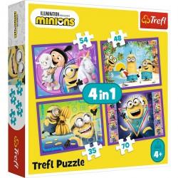 TREFL Puzzle Układanka 4w1 W ŚWIECIE MINIONKÓW 34345