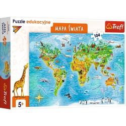 TREFL Puzzle Edukacyjne Układanka 104 Elementy MAPA ŚWIATA 15557