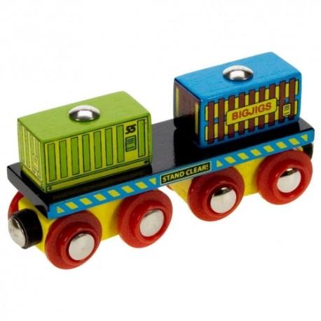 Bigjigs Toys - BJT410 - Wagon z Kontenerami - do Kolejek Drewnianych