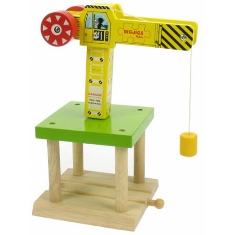 Bigjigs Toys - BJT175 - Duży Dźwig do Kolejek Drewnianych
