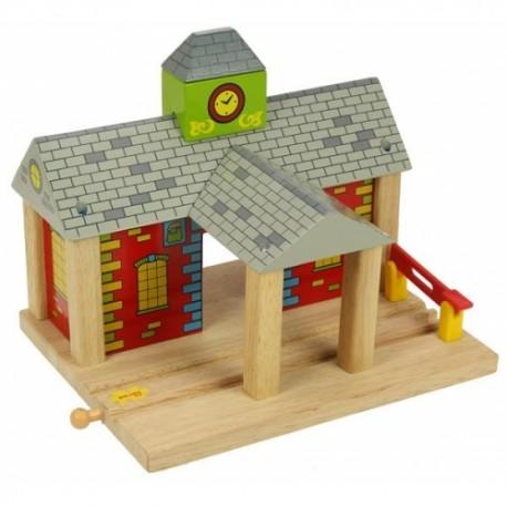 Bigjigs Toys - BJT215 - Stacja Kolejowa - do Kolejek Drewnianych