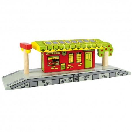 Bigjigs Toys - BJT190 - Stacja Kolejowa Dworzec Mały - do Kolejek Drewnianych