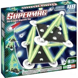 SUPERMAG Magnetyczne Klocki Konstrukcyjne CLASSIC 48 Elementów Świecące w Ciemności 0408
